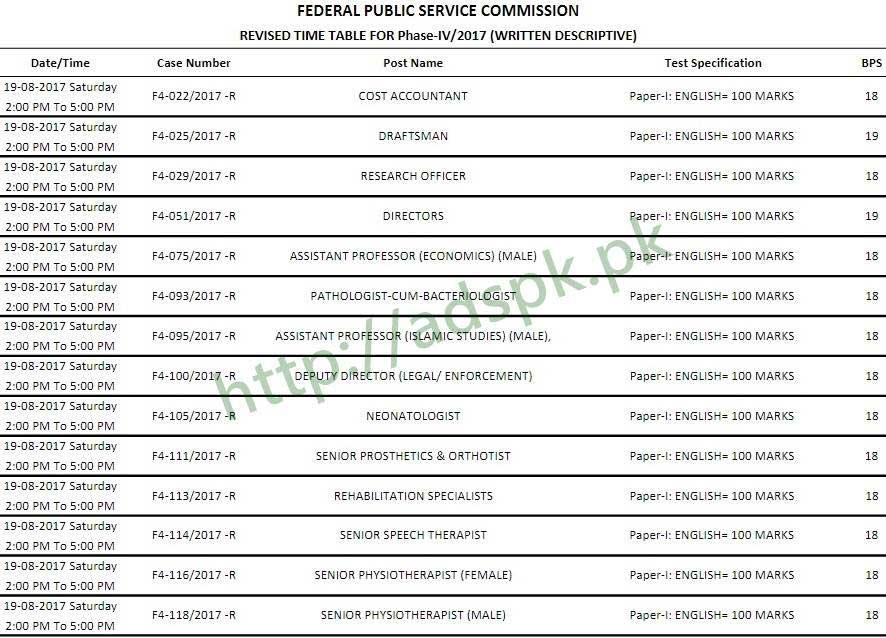 FPSC Senior Auditor Test Schedule 2017 Admission Form has