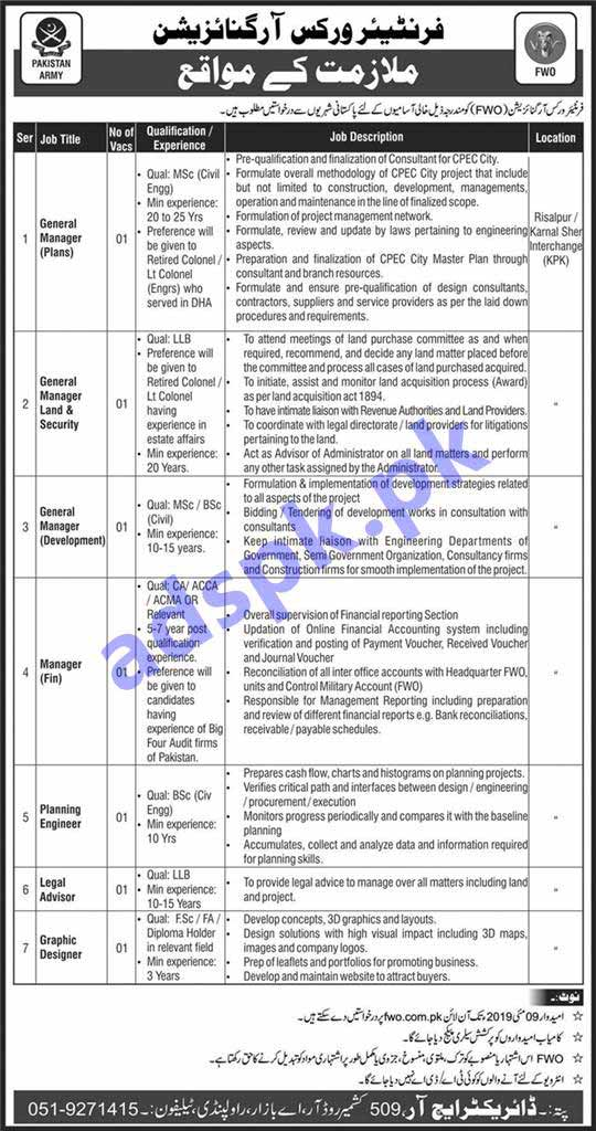 FWO Pakistan Army Jobs 2019 for General Managers Manager Fin