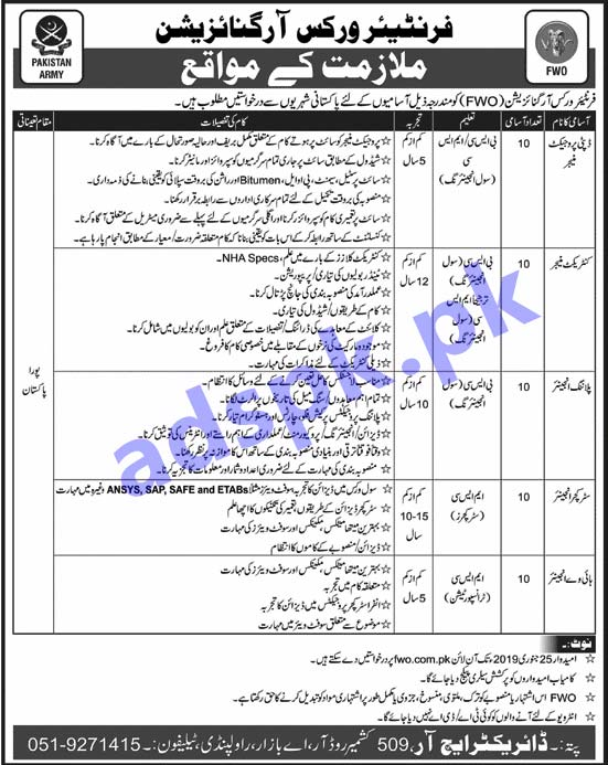 FWO Pakistan Army Rawalpindi Jobs 2019 for Deputy Project Manager Contract Manager Planning Engineer Structure Engineer Highway Engineer Jobs Application Form Deadline 25-01-2019 Apply Online Now