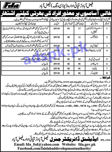 Faisalabad Development Authority FDA Disable Quota Jobs 2019 NTS Written Test MCQs Syllabus Paper for Assistant Director Junior Clerk Computer Operator Jobs Application Form Deadline 28-02-2019 Apply Now