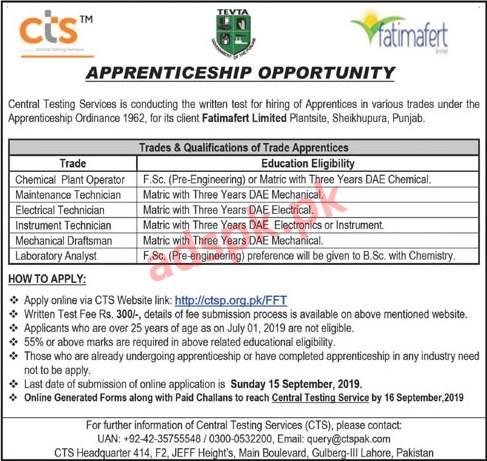 Fatimafert Limited Apprenticeship Program 2019 CTSP Written Test MCQs Syllabus Paper for FSc Matric Application Form Deadline 15-09-2019 Apply Online Now