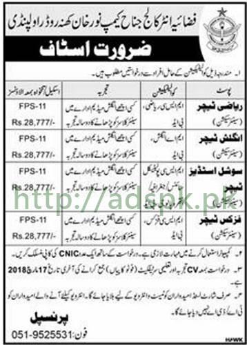 Fazaia Inter College Jinnah Camp Rawalpindi Jobs 2018 Teachers Math English Social Studies Physics Jobs Application Deadline 17-03-2018 Apply Now
