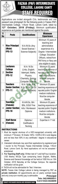 Fazaia PAF Intermediate College Lahore Jobs 2018 Vice