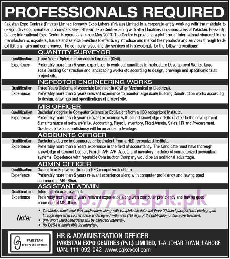 Fresh Careers Jobs Pakistan Expo Centres Pvt. Limited Lahore Jobs for Quantity Surveyor Inspector Engineering Works MIS Officer Accounts Officer Admin Officer Assistant Admin Apply Now within 10 Days Publication of this Advertisement