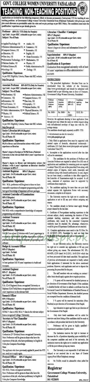 GCWUF PO Box 28 GPO Faisalabad Jobs 2018 Professors