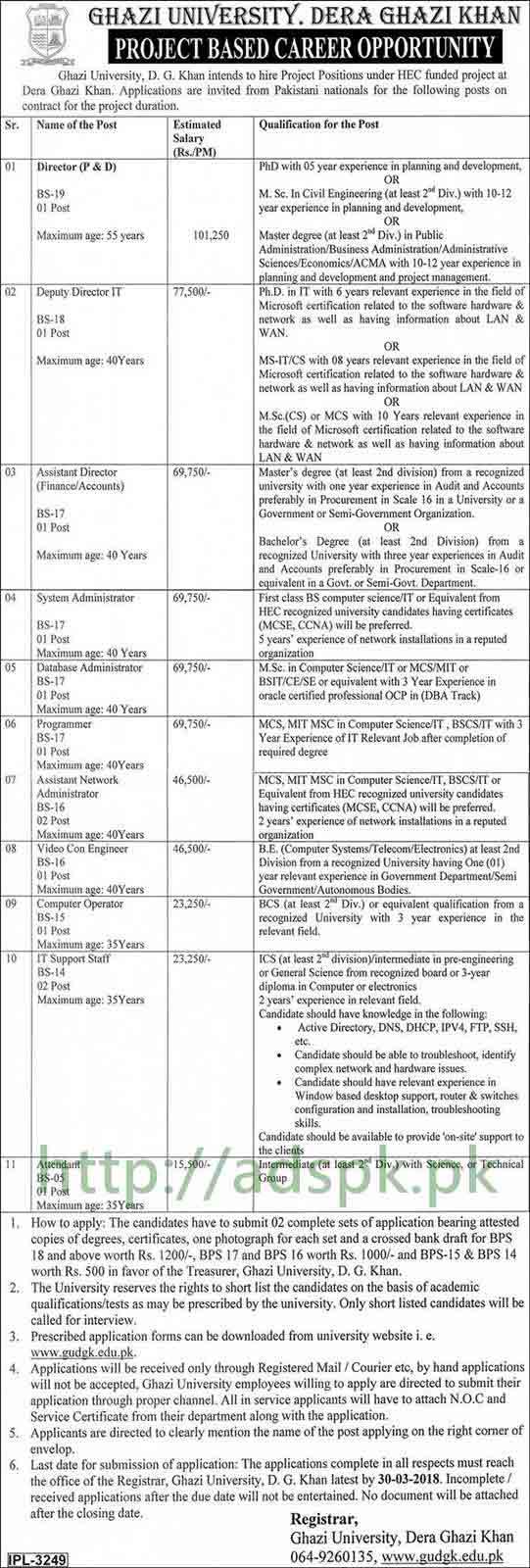 Ghazi University Dera Ghazi Khan Jobs 2018 Director P&D Deputy Director IT Assistant Director System Admin Database Admin Programmer Jobs Application Form Deadline 30-03-2018 Apply Now