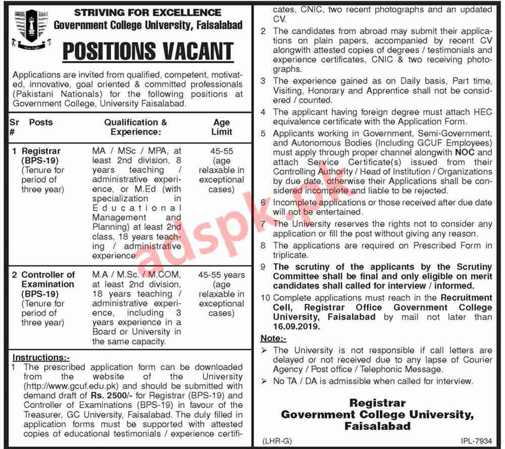 Government College University Faisalabad GCUF Jobs 2019 for