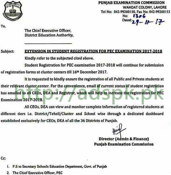 Grade 5th 8th Registration Extended PEC Annual Exams 2018 Will Continue Till 16th December 2017 at Concerned Clusters Centers