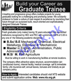 Graduate Trainees for a Leading Group of Manufacturing Industries
