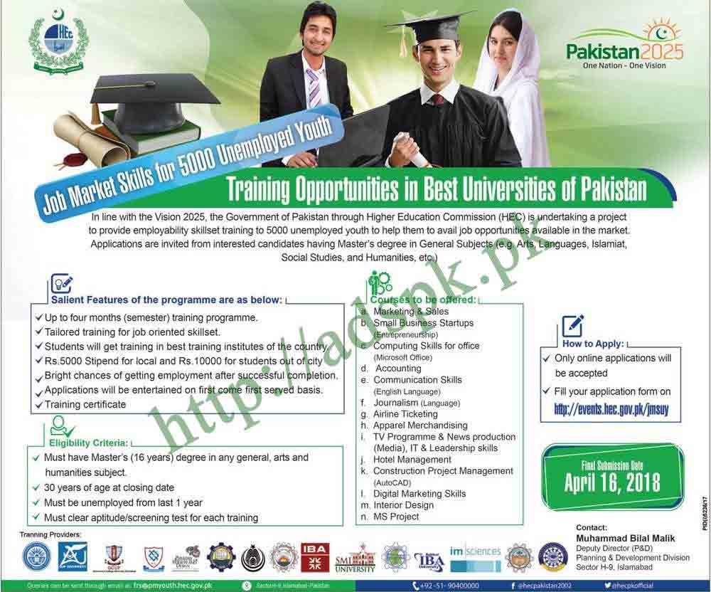 HEC Jobs Training Opportunities 2018 Best Universities of Pakistan Job Market Skills for 5000 Unemployed Youth Application Form Deadline 16-04-2018 Apply Online Now