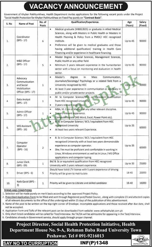 Health Department KPK Peshawar Jobs 2018 Cooridnator M&E Officer Data Analyst Admin Officer Computer Operator Junior Clerk Jobs Application Form Deadline 03-04-2018 Apply Now