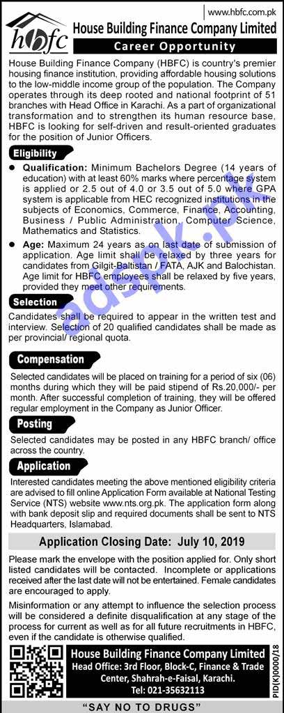 House Building Finance Company HBFC Jobs 2019 NTS Written Test MCQs Syllabus Paper for Junior Officers Jobs Application Form Deadline 10-07-2019 Apply Online Now