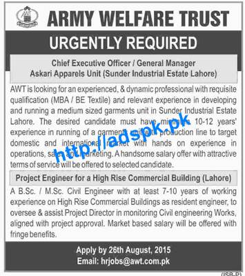 How to Apply Jobs of Army Welfare Trust Jobs 2015 for Chief