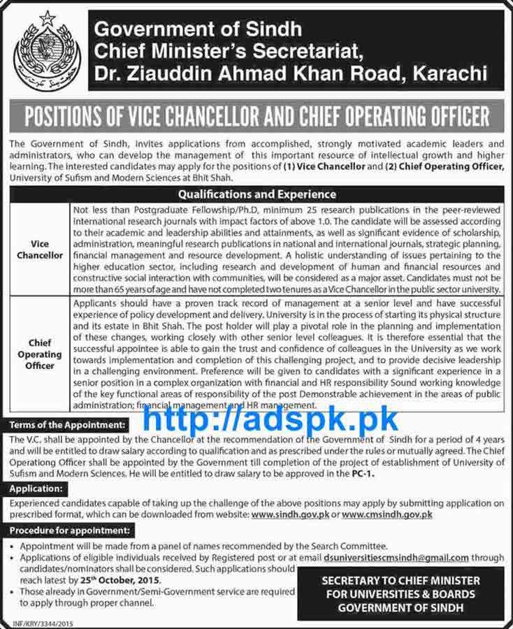 How to apply jobs of govt of sindh universities boards cm secretariat karachi jobs 2015 for - Chief operating officer jobs ...