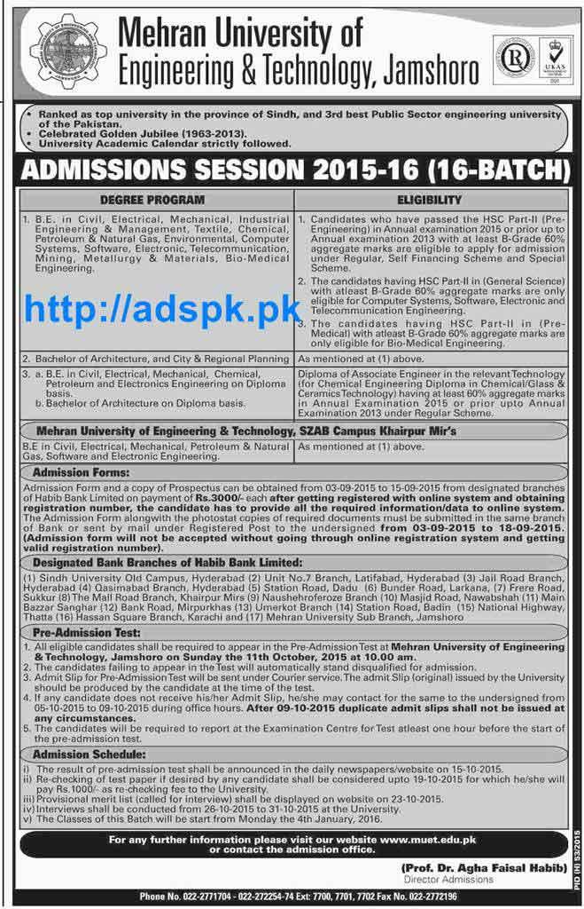 apply mehran uet jamshoro admissions open   batch    civil electrical