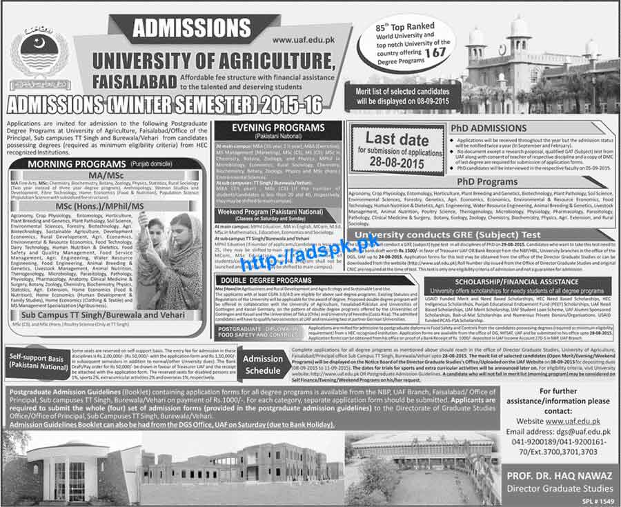 Jobs In University Of Agriculture Faisalabad - Inspirational