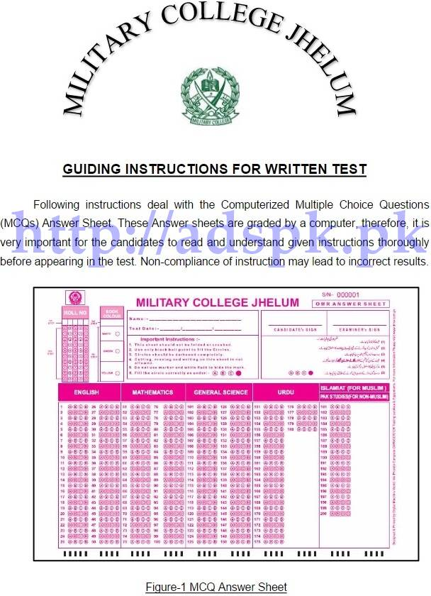 Past Papers Of Cadet College Jhelum 2018 - Past papers