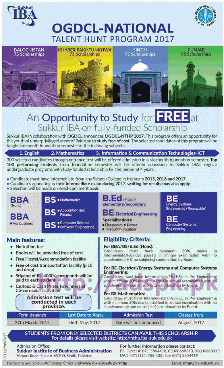 IBA Sukkur OGDCL National Talent Hunt Program 2017 Free Fully Funded Scholarship for BBA BS B.Ed B.E Various Disciplines Application Form Deadline 06-05-2017 Apply Now