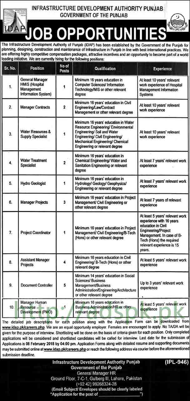 IDAP Punjab Government Jobs 2018 General Manger HMIS Managers Water Specialists Project Coordinator Jobs Application Form Deadline 08-02-2018 Apply Online Now