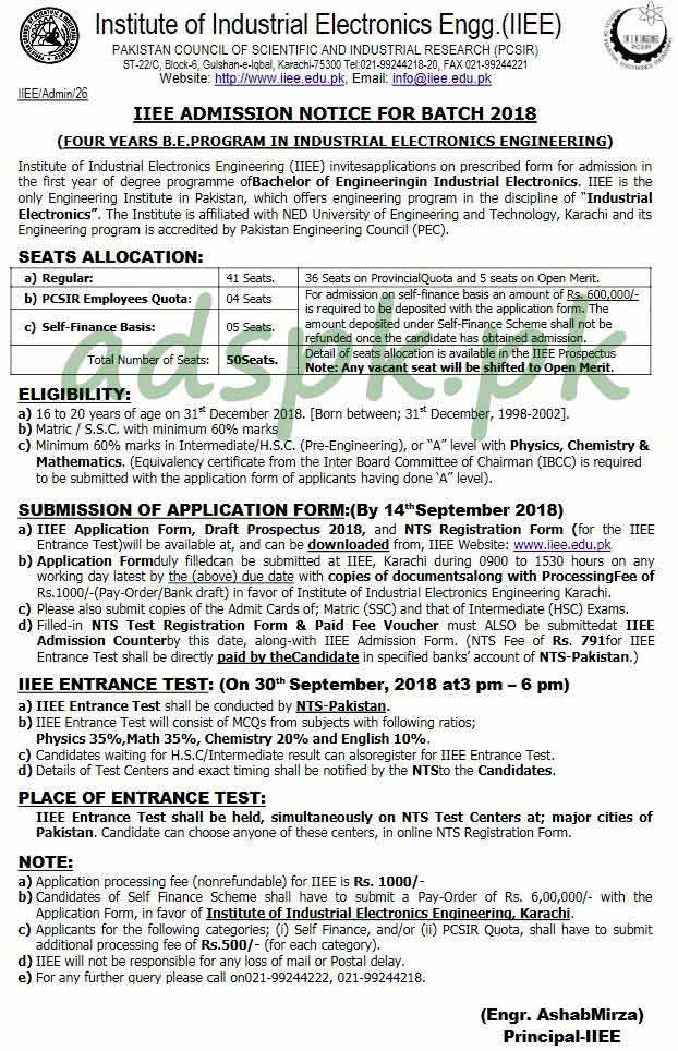 Institute of Industrial Electronics Engineering (IIEE) NTS Admissions Test 2018 Written Test MCQs Syllabus Paper for Bachelor of Engineering Industrial Electronics Degree Program Application Form Deadline 14-09-2018 Apply Now