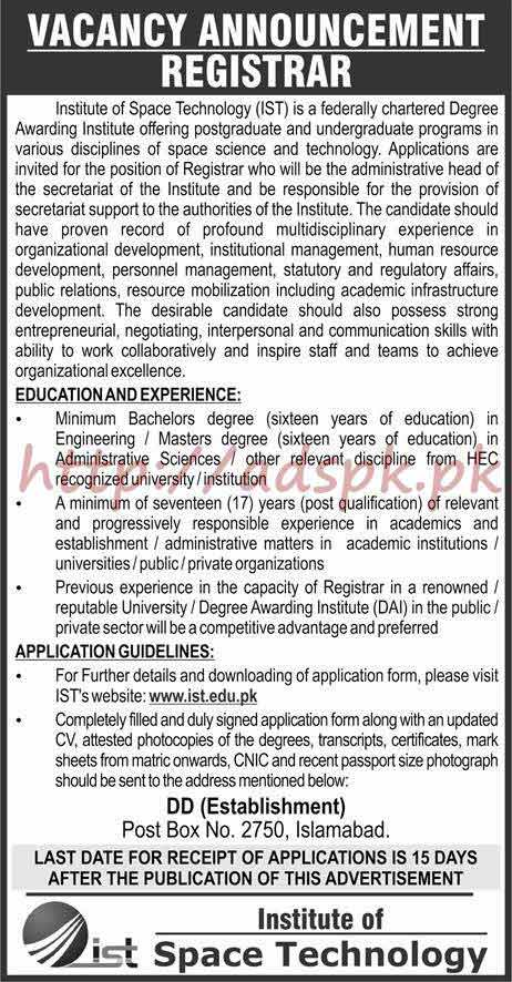 Institute of Space Technology IST PO Box 2750 Islamabad Jobs 2018 Registrar Jobs Application Form Deadline 14-06-2018 Apply Now
