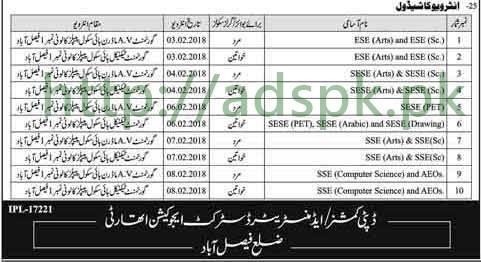Interviews Schedule Educators 2018 District Faisalabad