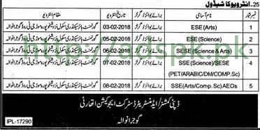 Interviews Schedule Educators 2018 District Gujranwala
