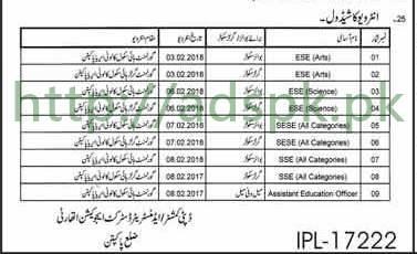 Interviews Schedule Educators 2018 District Pakpattan
