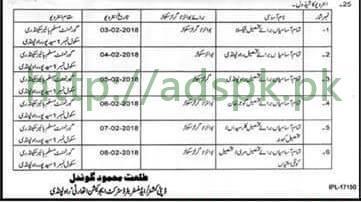 Interviews Schedule Educators 2018 District Rawalpindi