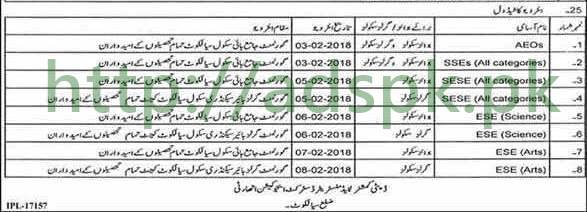 Interviews Schedule Educators 2018 District Sialkot