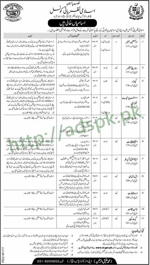Islamic Ideology Council Federal Government Islamabad Pakistan Jobs 2018 Translation Officer Research Officer Composer Assistant Private Secretary Data Entry Operator LDC Jobs Application Form Deadline 21-03-2018 Apply Now