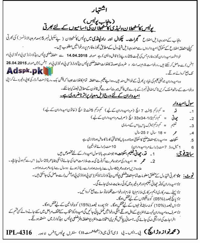 Job Opportunities for Male-Female Punjab Police Constable Recruitment  BPS-05 District Rawalpindi,