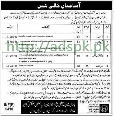 Jobs Anti Terrorism Court District Bannu KPK Jobs 2017 Assistant Computer Operator Junior Clerk Naib Qasid Jobs Application Deadline 11-10-2017 Apply Now