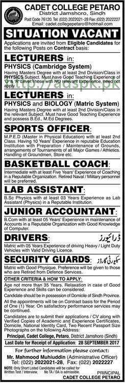 Jobs Cadet College Petaro District Jamshoro Sindh Jobs 2017 Lecturers Sports Officer Basketball Coach Lab Assistant Junior Accountant Drivers Security Guards Jobs Application Deadline 28-09-2017 Apply Now