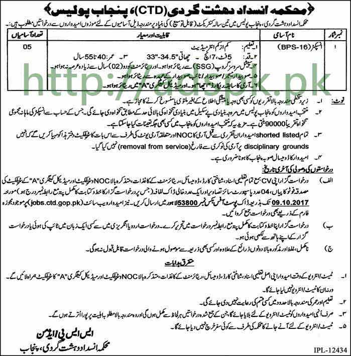 Jobs Counter Terrorism Department CTD Punjab Police PO Box 53800 Lahore Jobs 2017 Inspector Jobs Application Deadline 09-10-2017 Apply Now