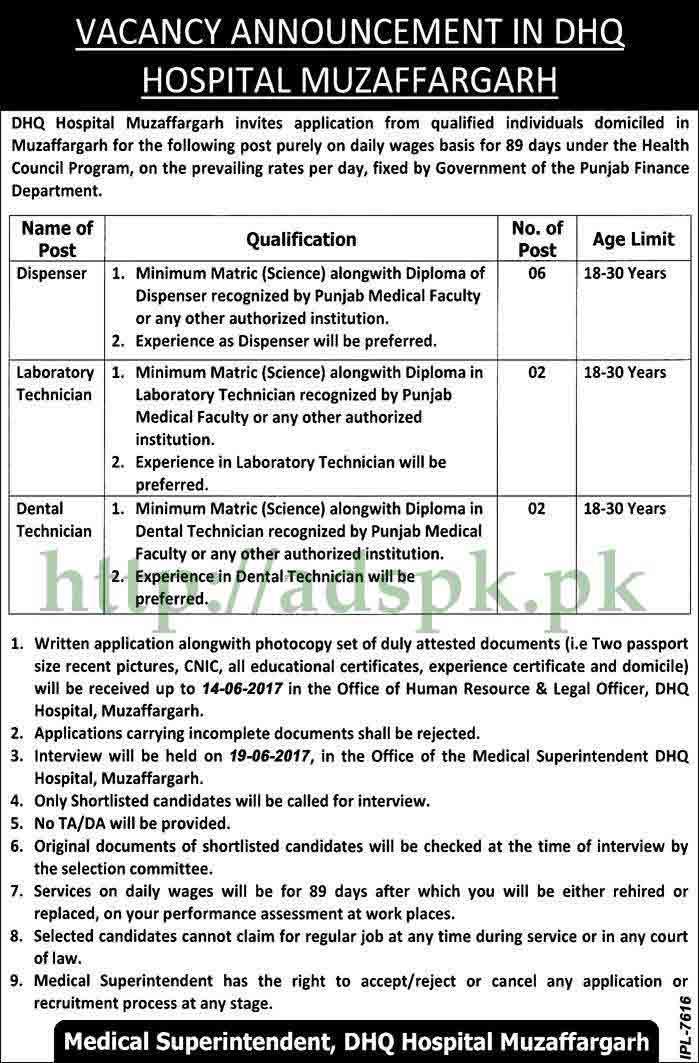 Jobs DHQ Hospital Muzaffargarh Punjab Govt. Jobs 2017 for Dispenser ...