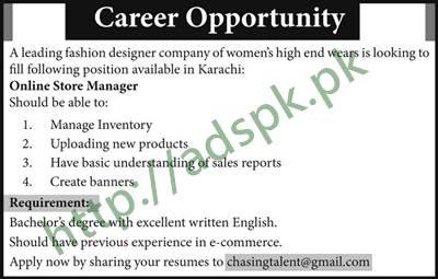 Jobs Fashion Designer Company Women's High end Wears Karachi Jobs 2017 Online Store Manager Jobs Application Apply Online Now