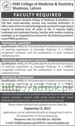 Jobs Fatima Memorial Hospital FMH College of Medicine and Dentistry Lahore Jobs 2017 Professors Various Disciplines Jobs Application Deadline 09-09-2017 Apply Now