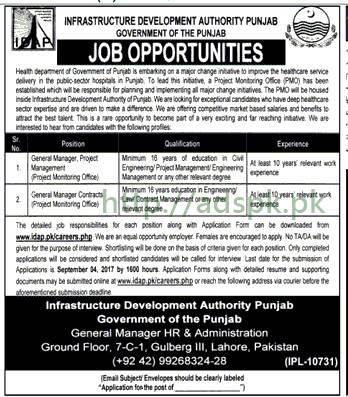 Jobs Infrastructure Development Authority IDAP Lahore Jobs 2017 General Mangers Jobs Application Form Deadline 04-09-2017 Apply Now