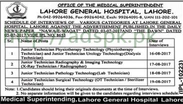 Jobs Interview Schedule Lahore General Hospital Lahore Jobs Junior Technicians Interviews 16-08-2017 to 19-08-2017 by Lahore General Hospital Lahore
