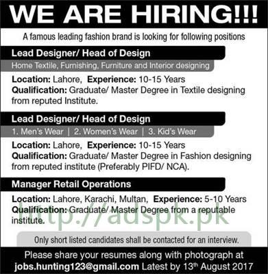 Fashion Designers Jobs In Karachi