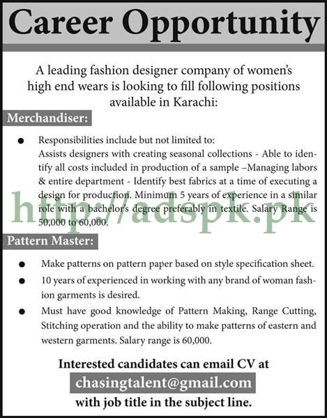 Jobs Leading Fashion Designer Company Of Women 39 S Karachi Jobs 2017 For Merchandiser Pattern