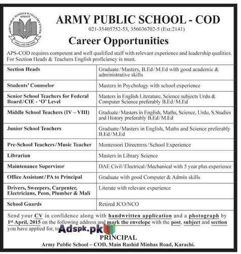 Jobs Open in Army Public School, APS-COD, Karachi for