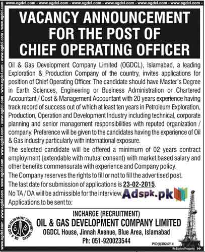 Jobs open in ogdcl islamabad for chief operating officer and chief financial officer - Chief operating officer jobs ...
