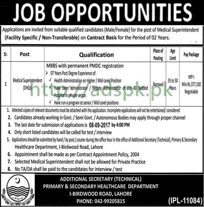 Jobs Primary & Secondary Healthcare Department Punjab Narowal Jobs 2017 Medical Superintendent DHQs Jobs Application Deadline 08-09-2017 Apply Now