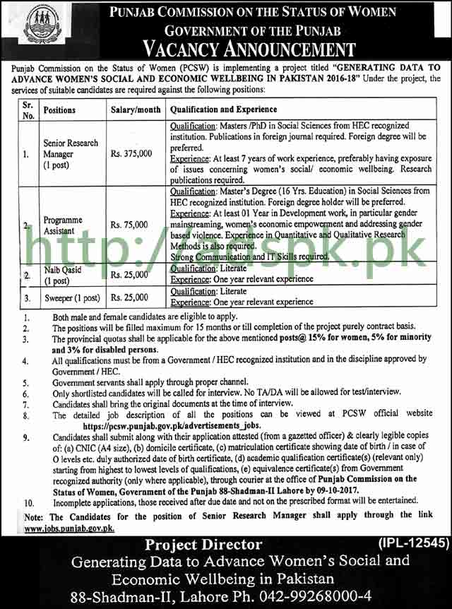 Jobs Punjab Commission on the Status of Women PCSW Lahore Jobs 2017 Senior Research Manager Program Assistant Naib Qasid Jobs Application Deadline 09-10-2017 Apply Now