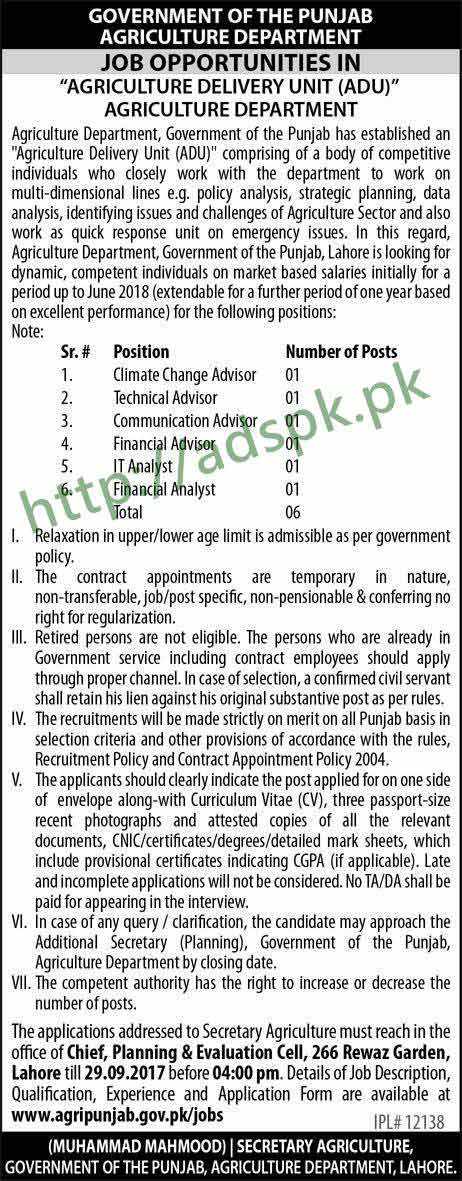 Jobs Punjab Government Agriculture Department Lahore Jobs 2017 Advisor Various Disciplines IT Financial Analysts Jobs Application Form Deadline 29-09-2017 Apply Now