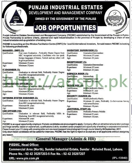 Jobs Punjab Industrial Estate Development Company Jobs 2017 Lahore Manager I.T Engineer Coordination Officer CSR Officer Jobs Application Deadline 04-09-2017 Apply Now