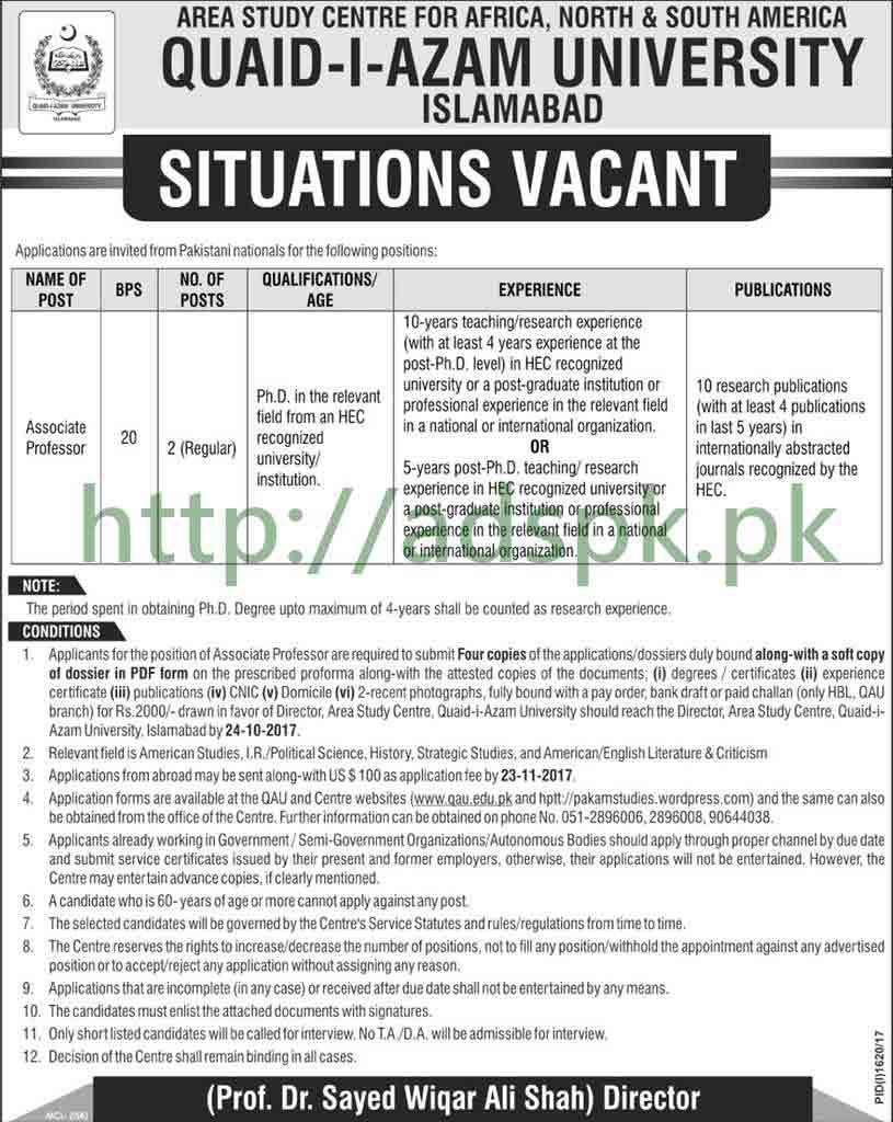 Jobs Quaid-i-Azam University Islamabad Jobs 2017 Associate Professor Jobs Application Form Deadline 24-10-2017 Apply Now