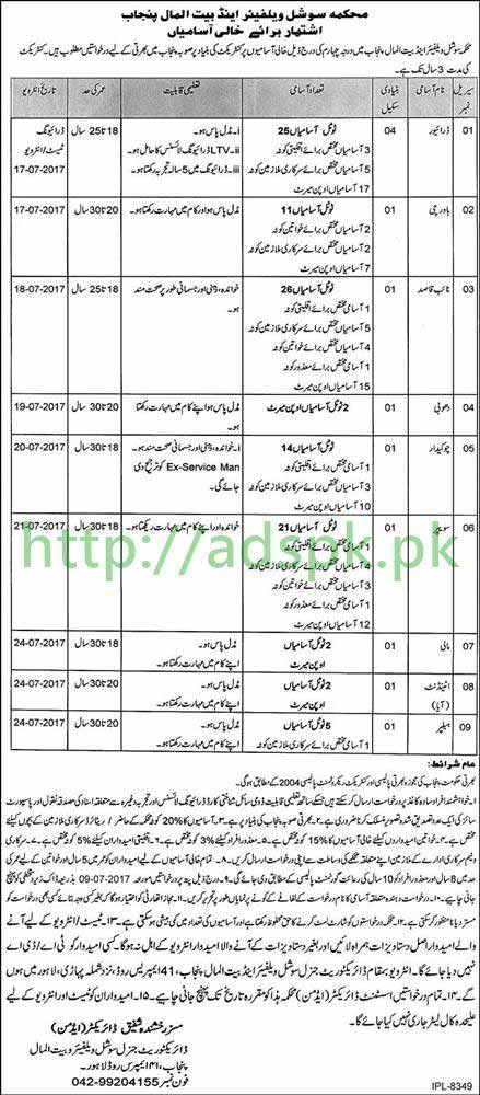 Jobs Social Welfare & Bait ul Maal Department Punjab Govt. Lahore Jobs 2017 for Class 04 Jobs Driver Naib Qasid Cook and Other Staff Jobs Application Deadline 09-07-2017 Apply Now